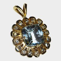 Aquamarine Diamond 14K Yellow Gold Pendant Fine Elegant