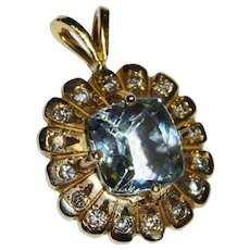 Aquamarine Diamond 14K Yellow Gold Pendant Fine Elegant
