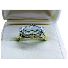 Art Deco Diamond Aquamarine 14k Yellow Gold Filigree Ring Fine
