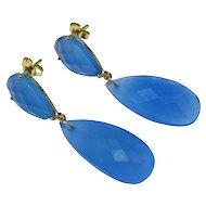 Blue Chalcedony 14K Yellow Gold Tear Drop Earrings Fine Long