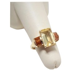 Citrine Topaz 14K Yellow Gold Ring Fine Vintage Awesome
