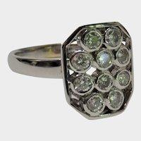 Diamond Cluster 14K White Gold Ring Modernist Fine Stunning