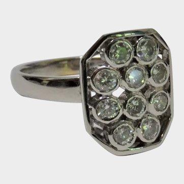 Diamond 14K White Gold Ring Contemporary Fine