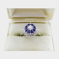 Elegant Diamond Sapphire Halo 14K White Gold Ring Fine Estate