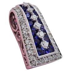 Fine Diamond Sapphire 14K White Gold Slide Enhancer Pendant Elegant