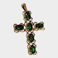 Green Tourmaline 14K Yellow old Cross Pendant Fine Vintage