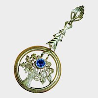14K Yellow Rose Gold Blue Sapphire Paste Basket of Flowers Lavalier Pendant Fine Vintage Precious
