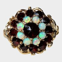 Opal Garnet 14K Yellow Gold Cluster Ring Fine Vintage Gorgeous