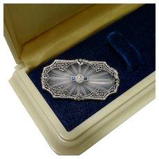 Art Deco Diamond Sapphire 14K White Gold Platinum Camphor Glass Filigree Brooch Fine Vintage