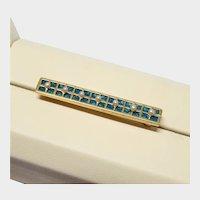 14K Yellow Gold Teal Guilloche Enamel Pearl Bar Pin Fine Vintage