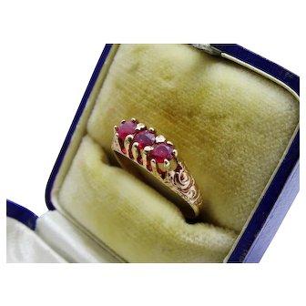 Victorian Ruby 14K Rose Gold Ring 3-Stone Ornate Fine