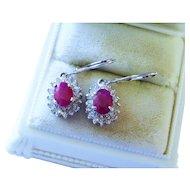 Ruby Diamond Halo 14K White Gold Drop Earrings Fine Gorgeous