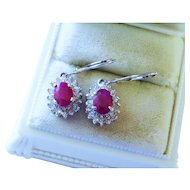 Ruby Diamond Halo 14K White Gold Drop Earrings Fine Gorgeous