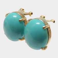 Turquoise Cabochon 14K Yellow Gold Earrings Fine Gorgeous Vintage