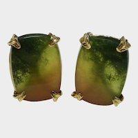 Extraordinary Watermelon Tourmaline Earrings 14K Yellow Gold Vintage Designer Billy Mason Very Fine