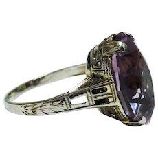 Amethyst 14K White Gold Filigree Ring Art Deco Lovely