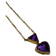 Elegant Amethyst 14K Yellow Gold Pendant with Chain Necklace Fine Vintage