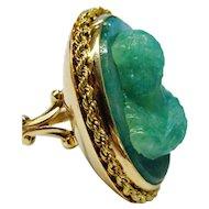 Outstanding HUGE Aventurine 14K Gold Carved Cameo Ring Fine Vintage OOAK