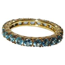 Blue Topaz 14K Yellow Gold Eternity Band Ring Fine Beautiful