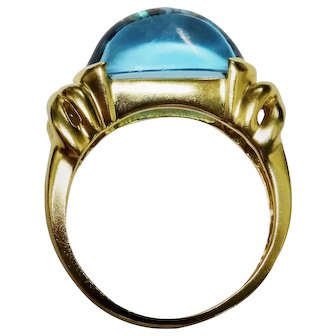 Blue Topaz 14K Yellow Gold Modernist Ring Awesome Oval Sugarloaf Cabochon Fine