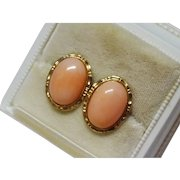 Salmon Coral 14K Yellow Gold Earrings Decorative Fine Vintage