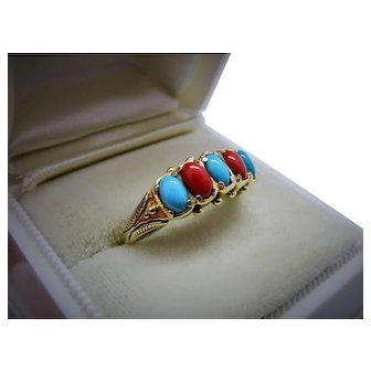 Oxblood Coral Turquoise 14K Yellow Gold 5 Stone Ring Fine Vintage Fabulous