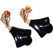 Elegant 14K Rose Gold Diamond Black Onyx Drop Earrings Fine