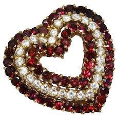 Diamond Garnet Heart 14K Gold Pendant Brooch Fine Gorgeous Vintage