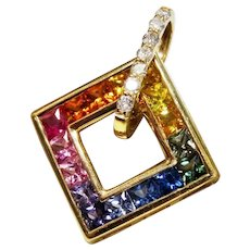 Diamond Rainbow Sapphire 14K Yellow Gold Pendant Fine Gorgeous