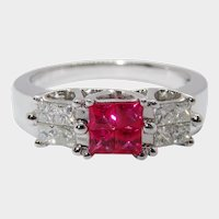 Exquisite Diamond Ruby 14K White Gold Ring Fine Estate