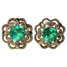 Gorgeous Colombian Emerald Diamond 14K Yellow Gold Ornate Earrings Fine