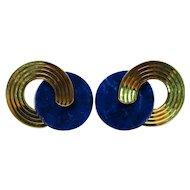 14K Yellow Gold Lapis Earrings Fine Retro Classic