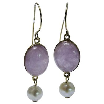 Lovely Lavender Jadeite Jade Cultured Freshwater Pearl 14K Yellow Gold Drop Earrings Fine