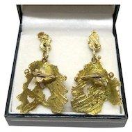 14K Yellow Gold Modernist Post Dangle Earrings Fine Designer