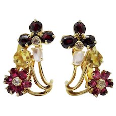 Extraordinary Diamond Rubbellite Tourmaline Moonstone 14K Yellow Gold Clip Earrings Fine Vintage