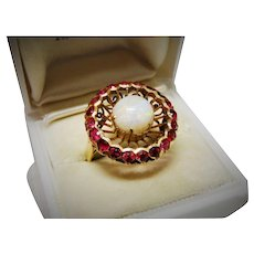 Opal Ruby 14K Yellow Gold Ring Fine Retro Vintage Outstanding