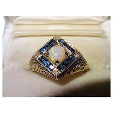 Opal Sapphire Diamond 14K Yellow Gold Filigree Cluster Ring Vintage Gorgeous