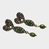 Diamond Ruby Emerald Tourmaline 14K Gold Silver Drop Earrings Fine Victorian Revival