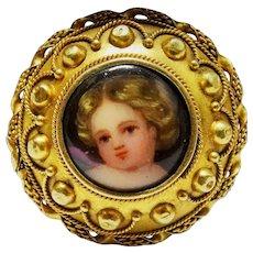 15K Gold Portrait Memorial Locket Pin Victorian Child