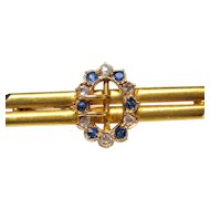 Antique Diamond Sapphire 15K Yellow Gold Buckle Pin Fine