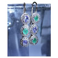 Vintage Diamond Emerald Tanzanite 15K Gold Sterling Silver Drop Earrings Fine Unique