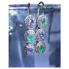 Vintage Diamond Emerald Tanzanite 15K Gold Sterling Silver Drop Earrings Fine Unique