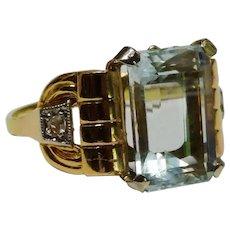 Exquisite Aquamarine Diamond 18K Yellow Rose Gold Ring Retro Fine
