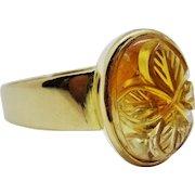 Extraordinary 18K Carved Citrine Cabochon Ring Fine Vintage