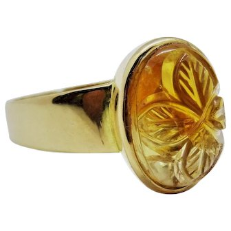 Extraordinary 18K Carved Citrine Cabochon Ring Fine Vintage