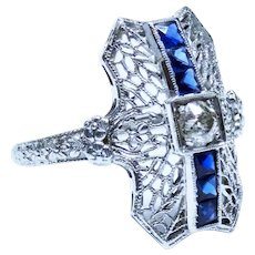 Art Deco Diamond Sapphire 18K White Gold Filigree Platinum Ring Fine Gorgeous