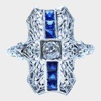 Deco Sapphire Diamond 18K White Gold Platinum Filigree Ring Fine