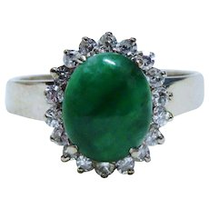 Diamond Jade Jadeite 18K White Gold Halo Ring Fine Gorgeous