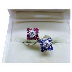 Diamond Ruby Sapphire 18K White Gold Ring Twin Flower Fabulous Vintage