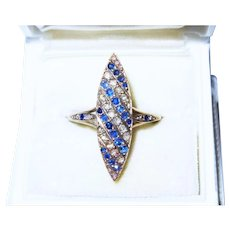 Fine Diamond Sapphire 18K Gold Pave Marquis Navette Ring Antique Edwardian Exquisite